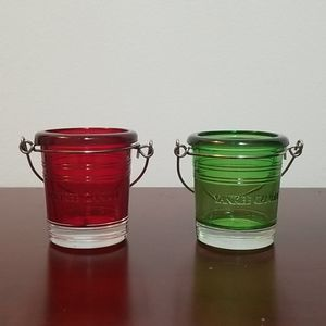 Yankee Candle Votive Holder Holiday Green Red 2 pc